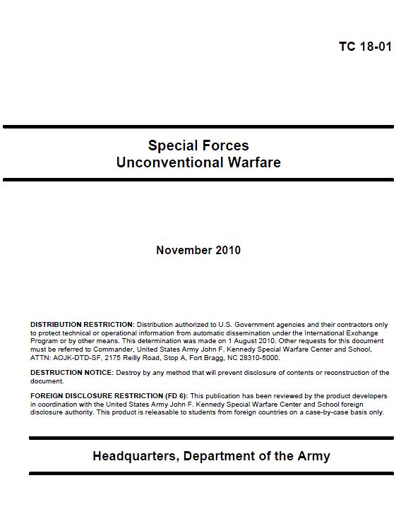 TC 18-01 устав ССО США по подрывной деятельности